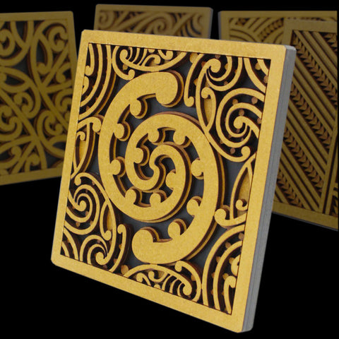 Maori Style Kowhaiwhai Tile Art by Mike Carlton from New Zealand