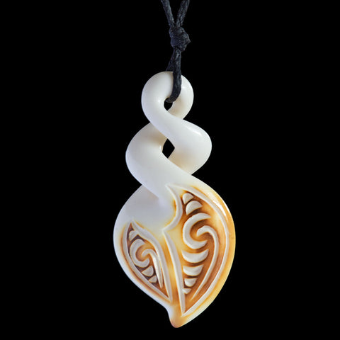 Maori Style Flame Brushed Engraved Bone Carving Twist Pendant