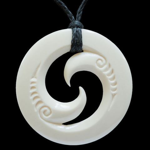 Maori Style Koru Bone Carving Pendant From New Zealand