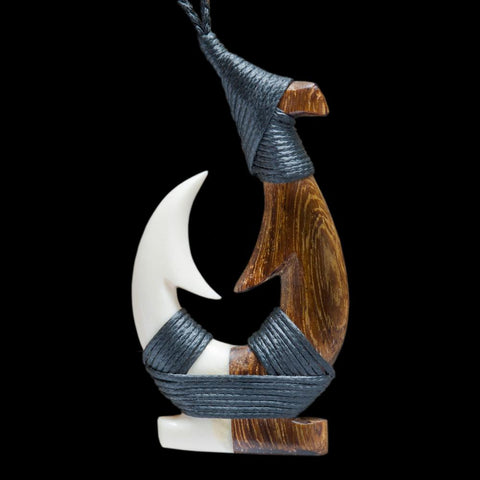 Maori Hook Necklace wood and Bone Carving