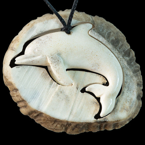 Carved Deer Antler Dolphin Pendant With Display Base