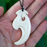 Large Maori Style carved Bone Matau Pendant by Hepi Maxwell