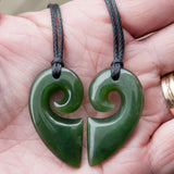 Heart Koru twin set of necklaces carved in jade