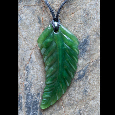 Maori Fern Leaf Jade Carving Necklace