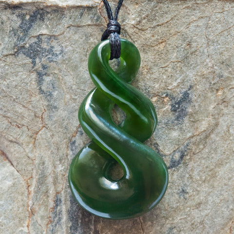 Small Maori Style Jade Double Twist Necklace