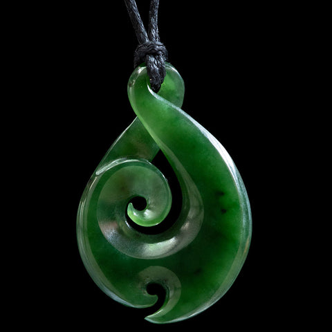 Maori style jade twist koru pendant by Ross Crump