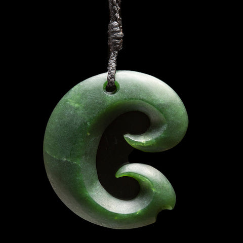 Small Jade Koru Pendant by Nick Balme