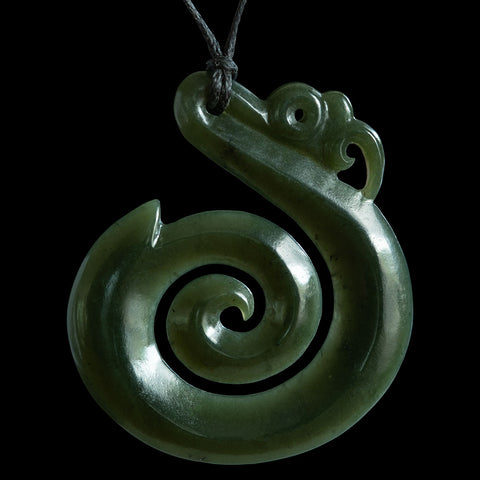 Large New Zealand Maori Style Jade Koropepe Pendant by Elliot Lewis