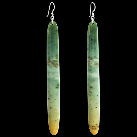 Large New Zealand Flower Jade Drop Earrings by Alex Sands