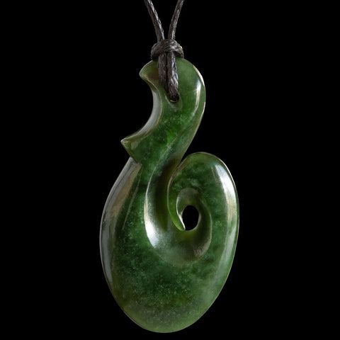 Dark Jade New Zealand Maori Style Matau Pendant by Luke Gardiner