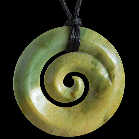 New Zealand Flower Jade Koru Pendant by Elliot Lewis