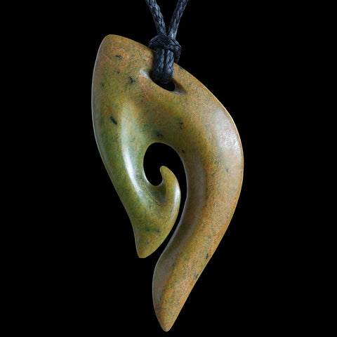 New Zealand Flower Jade Matau Pendant by Shaun Gardiner