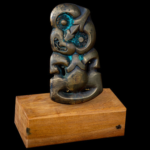 Large Traditional Maori Style Bronze Tiki Sculpture by Alex Sands