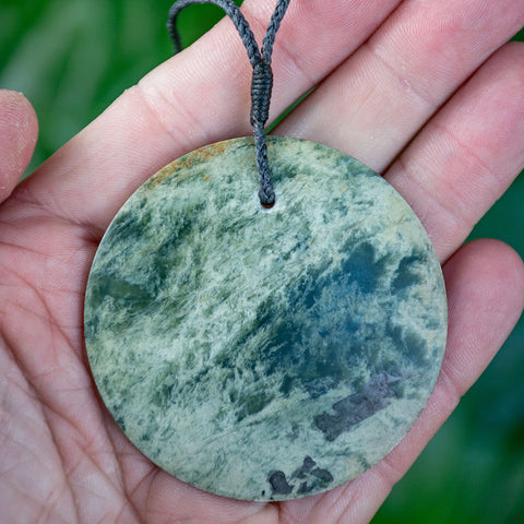 Large New Zealand Flower Jade Disc Pendant by Alex Sands