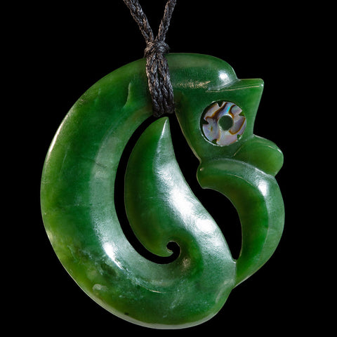 Maori Style New Zealand Jade Koropepe Pendant by by Andrew Ralph