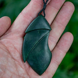Large Dark New Zealand Jade Kowhai Flower Pendant by Nick Balme
