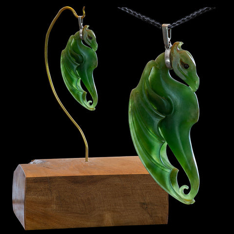 New Zealand Flower Jade Dragon Pendant & Sculpture by Alex Sands