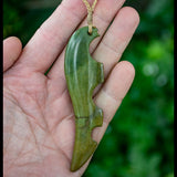 Large New Zealand Flower Jade Drop Pendant by Malcolm Cox