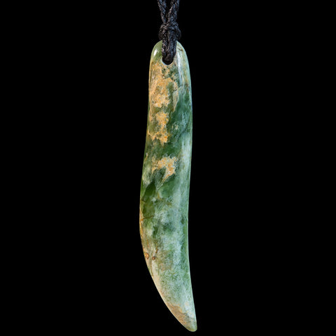 Large New Zealand Flower Jade Drop Pendant by Alex Sands