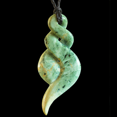 Large New Zealand Flower Jade Twist Pendant by Bill Goodwin