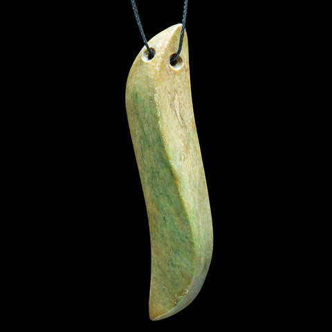 Large New Zealand Jade River Stone Drop Pendant by Madelyne Gourdin