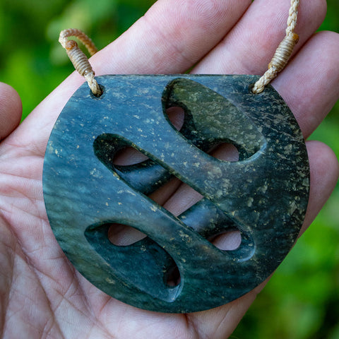 New Zealand Onewa Stone Crossover Twist Pendant by Alex Sands