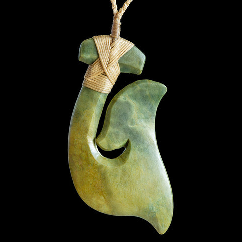 Large New Zealand Maori Style Flower Jade Matau Pendant by Yuki