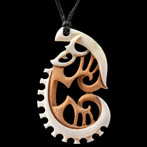 Stained bone Maori style pendant by Kerry Thompson