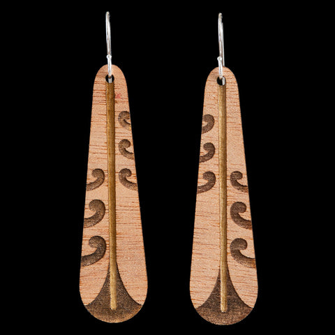 Wooden Piwakawaka Feather Earrings by Kristal Thompson