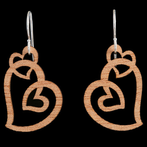 Wooden Koru Heart Earrings by Kristal Thompson