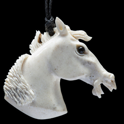 Deer antler Mustang wearable art sculpture pendant by Len Kay