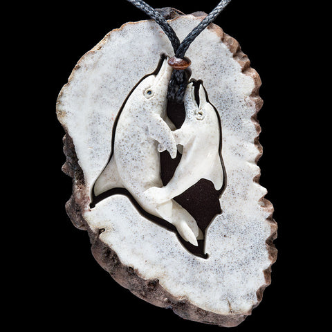 Playing Dolphins Pendant with Display Crown by Len Kay