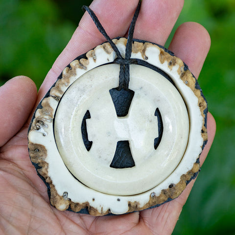 Large Deer Antler Pisces Pendant by Sio