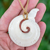 Large Deer Antler Whale Tail Koru Pendant by Sio