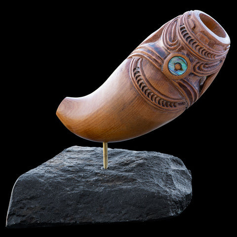 Traditional Maori Nguru Flute Carved In Native wood by Alex Sands