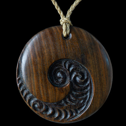 Large wooden New Zealand Maori Style Koru Disc Pendant