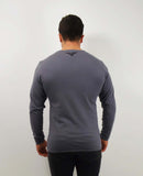 Diagonal Half and Half Long Sleeve T-Shirt - Charcoal / White