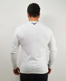 Diagonal Half and Half Long Sleeve T-Shirt - White / Black
