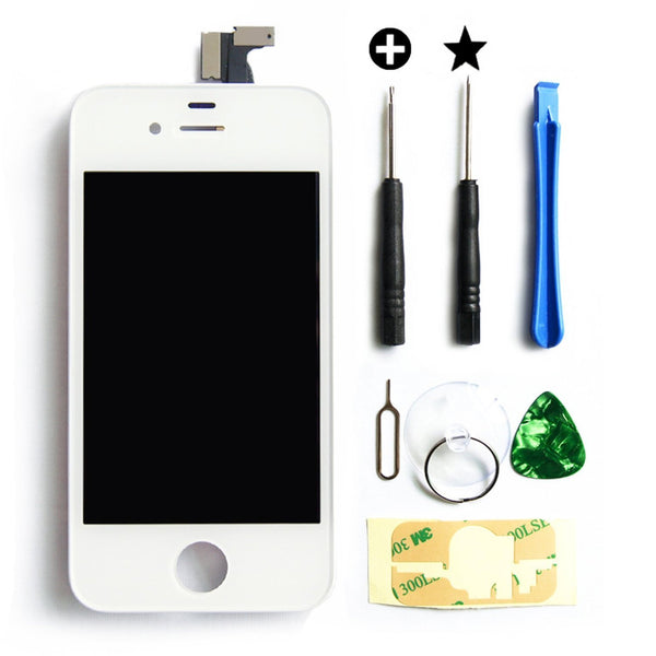 LCD display touchscreen voor iPhone 4 LCD wit front glas digitizer inclusief professionele reparatieset met een toolkit + een makkelijke handleiding van MMOBIEL