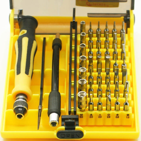 JACKLY B 45 in 1 Professioneel Opening Tool Compact Precisie Schroevendraaier Kit Set met Tweezer & 130 mm Extensie pen
