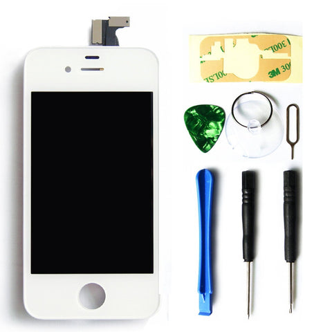 LCD display touchscreen voor iPhone 4S LCD wit front glas digitizer inclusief professionele reparatieset met een toolkit + een makkelijke handleiding van MMOBIEL