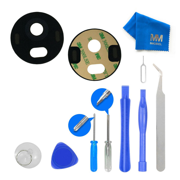 MMOBIEL Back Rear Camera Real  Glass Lens Replacement Complet Set + Pre-installed 3M Adhesive + Full Toolkit incl. Tweezers  for MOTOROLA MOTO G5 PLUS