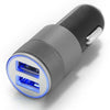 Autolader / Car Charger Set met Sync kabel Lightning naar USB 3,2 ft (1m) EN lightning socket adapter Dual USB Poort Blauw LED Licht Top Kwaliteit