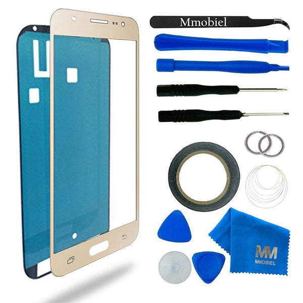 MMOBIEL Front Glass for Samsung Galaxy J5 J530 (2017) Series (Gold) Display Touchscreen incl 12 pcs Tool Kit / Pre-cut Sticker / Tweezers/ Roll of 2mm Adhesive Tape / Suction Cup / Metal Wire / Microfiber cleaning cloth