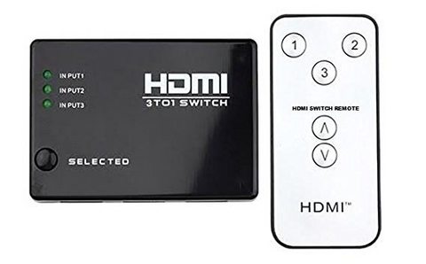 HDMI Switch 3 in 1 FULL HD 1080p 12Bit 3-Poort Intelligent 4K Ultra HDMI Compatible PORT Incl. IR Afstandsbediening
