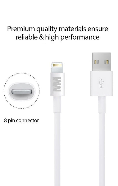 MMOBIEL 1 x Lightning (8 pins) naar USB Kabel 6,4 ft (2.0 M) Sync en Laad Charging Kabel met Compacte Connector kop voor iPhone