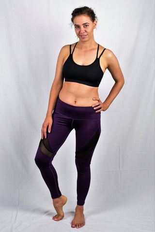 Purple Mesh Tights | Vigorous Array | Pole Dance and Aerial Dance Wear Online