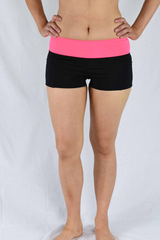 Pink/Black Waist Banded Pole Shorts