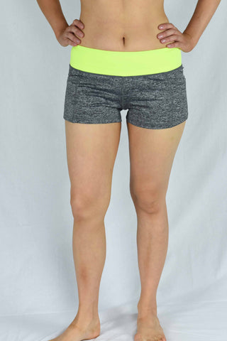 Yellow/Grey Waist Banded Pole Shorts