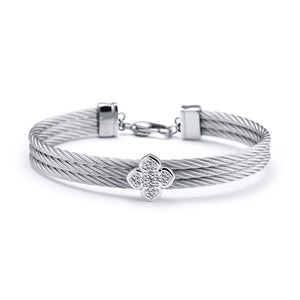 CHARRIOL Medium Bangle La Fleur With White Topaz - Sterling Silver